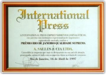 A Salles Engenharia Diploma International Press – RJ-1998